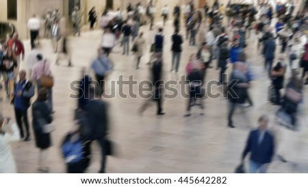 crowds of people walking on crowded public street. anonymous pedestrians commuting in the city. society population growth background   - stock photo