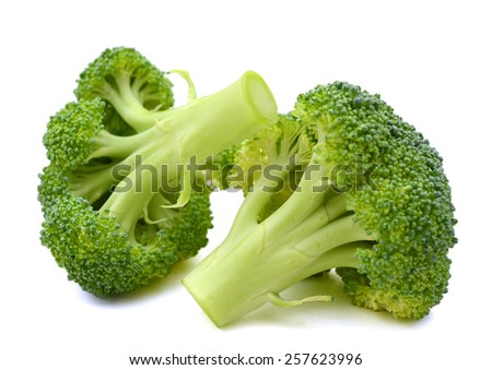 crown broccoli on white background  - stock photo