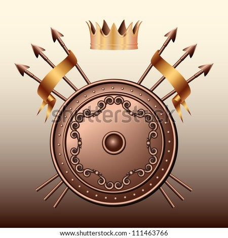Crown, Bronze shield and crossed spears. - stock photo