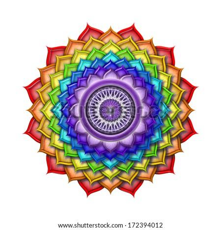 Crown Chakra Rainbow Colors isolated - stock photo