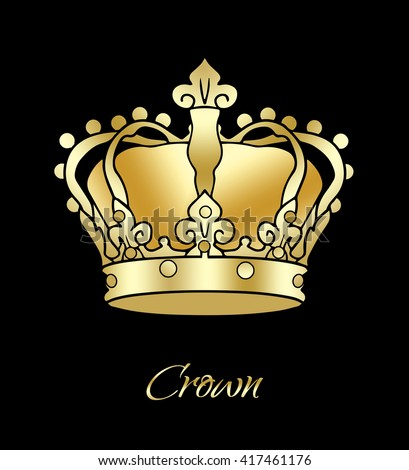 Crown. Golden Crown king isolated on a black background. Digital illustration, image, icon. Gold Royal Crown. For Holiday Art, print, web, album graphic design