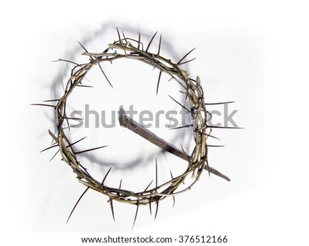 Crown of thorns and nail on white background. Easter theme. - stock photo