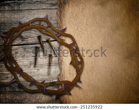 Crown of thorns, grunge Easter background - stock photo