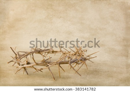 Crown of thorns lying on brown grunge wallpaper - stock photo