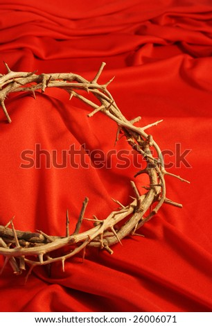 crown of thorns with red background and room for copy - stock photo