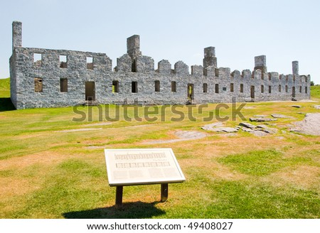 Crown Point State Historic Site stone fort ruins - stock photo
