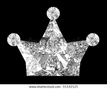 Crown shaped Diamond over black background. Other gems are in my portfolio. - stock photo
