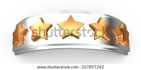Crown with gold stars for ranking, 3D - stock photo