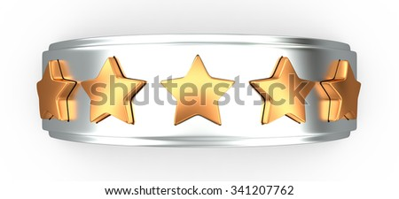 Crown with gold stars for ranking, 3D rendering image - stock photo