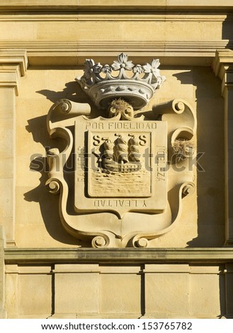 Crowned stone shield in the city hall of San Sebastian. Gipuzkoa, Basque Country, Spain - stock photo