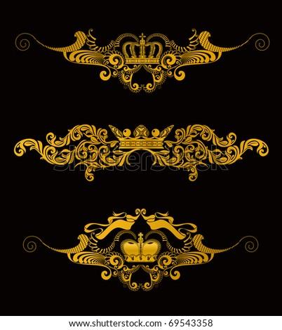 Crowns set of Design Elements, bitmap copy - stock photo