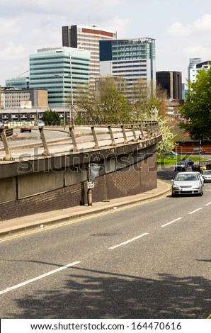 Croydon - View of the outbound road of the modern city - stock photo