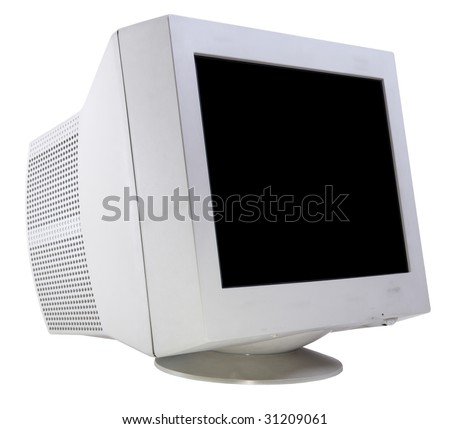 CRT monitor isolated on white side view - stock photo