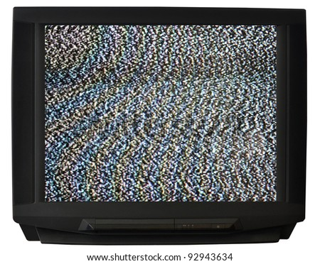 CRT TV isolated on white background - stock photo