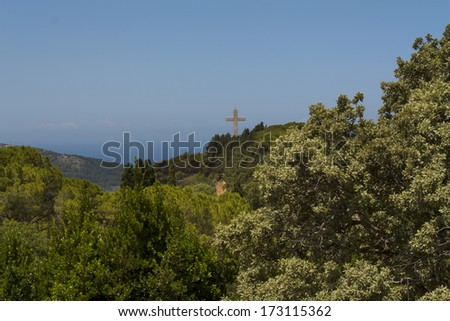 Crucifix cross view platform of Greece island Rhodes island photo. - stock photo
