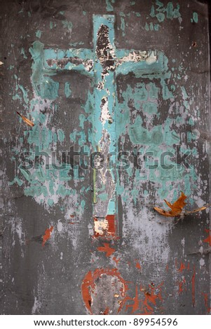 Crucifix from the old Prague Cemetery - stock photo