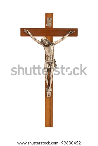 Crucifix with figure of Jesus on white background, vertical - stock photo