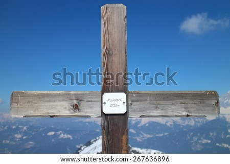 Crucifix with on the top of Rippetegg, Austria - stock photo