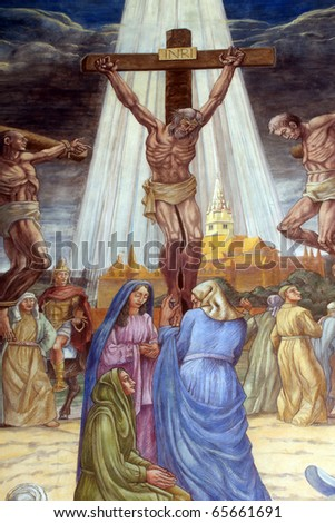 Crucifixion. Jesus dies on the cross. - stock photo