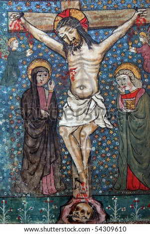 Crucifixion, Jesus dies on the cross. Close up of old Holy Bible book - stock photo