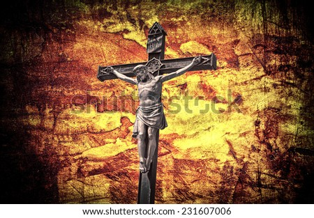 Crucifixion Jesus on the cross grunge effect - stock photo