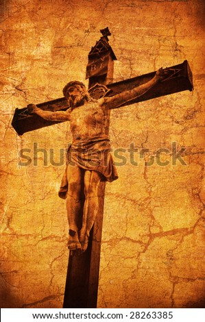 Crucifixion. Statue of Jesus Christ crucified. - stock photo