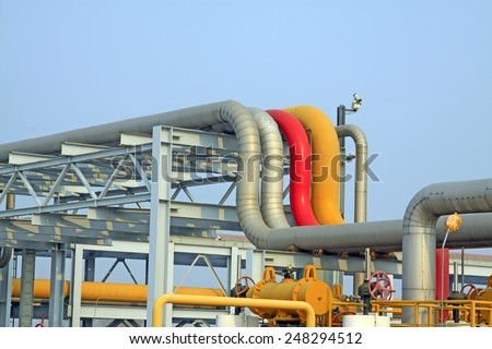 crude oil transmission equipment in a oilfield, closeup of photo