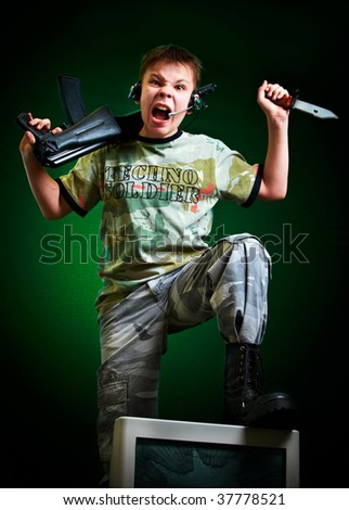 Cruelty computer and video games - stock photo