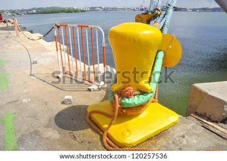Cruise boat mooring. - stock photo