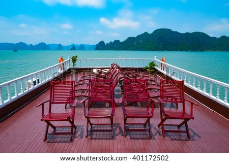 Cruise in Halong Bay, Vietnam, Southeast Asia - stock photo