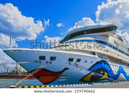 Cruise liner Aida Aura in sea port.