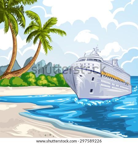 Cruise liner on the coastline - stock photo