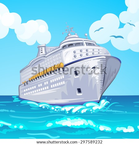 Cruise liner on the sea - stock photo
