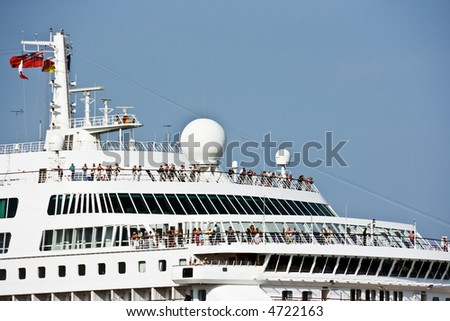 Cruise nautical tourist liner in the by-pass canal of Venice - stock photo