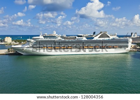 Cruise ship anchored in Port Everglades in Fort Lauderdale, Florida - stock photo