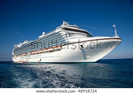 Cruise Ship Anchored in The Caribbean	 - stock photo