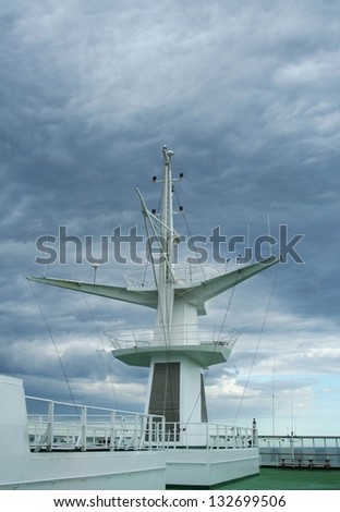 Cruise ship antenna - stock photo
