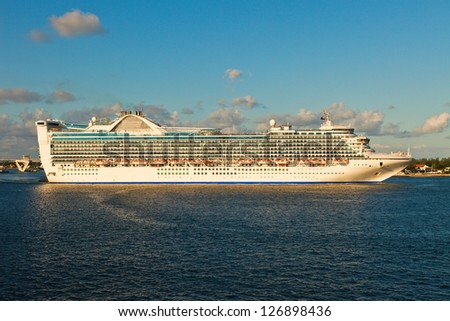 Cruise ship as it departs from Port Everglades, Fort Lauderdale, Florida. - stock photo