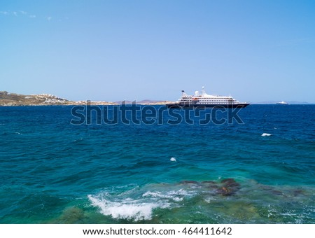 Cruise ship at Mykonos port, Greece