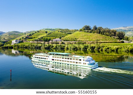 cruise ship at Peso da Regua, Douro Valley, Portugal - stock photo