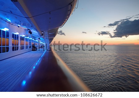 Cruise Ship Deck at Sunset - stock photo