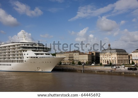 Cruise Ship Docked in Front of Stock Exchange (Bourse) of Bordeaux