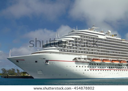 Cruise Ship Docked in the Port of Nassau in Bahamas. - stock photo