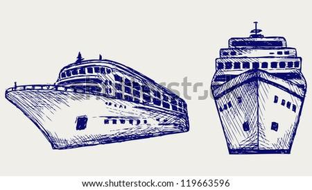 Cruise ship. Doodle style. Raster version - stock photo