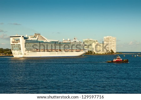 Cruise ship heading out to Atlantic Ocean for a Caribbean cruise. - stock photo