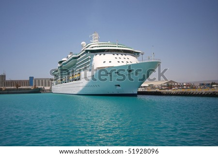 Cruise ship in a port. - stock photo