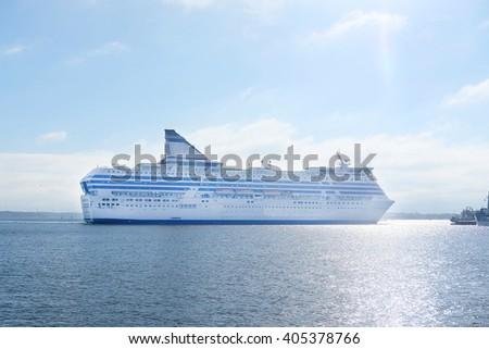 Cruise ship in a sea near Helsinki, Finland - stock photo
