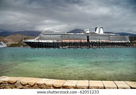 Cruise ship in port - Kefalonia, Greece - stock photo