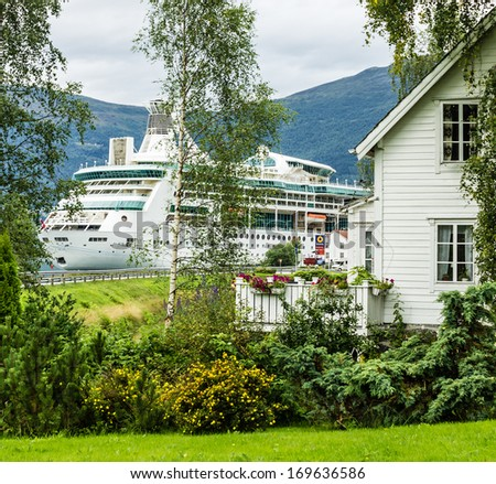 Cruise ship in rural town Olden, Norway.