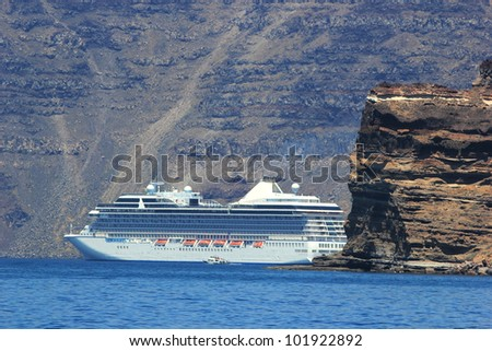 Cruise ship in Santorini Greece - travel background - stock photo